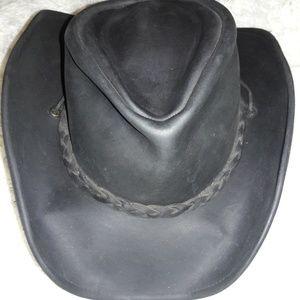 Black, Leather Cowboy Hat, S